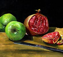 Still Life with Apples and a Pomegranate  by bournemonkey