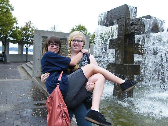 Crazy teenage girls having fun in Seattle, Washington by DonnaMoore