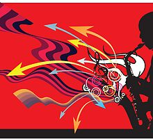 Jazz Sax Player art by James Cattlett by CattlettArt