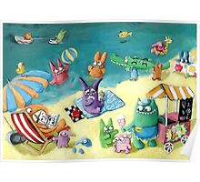 Monster Summer Time on the Beach Poster
