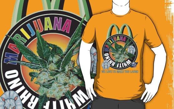 Marijuana T Shirt White Rhino by bear77