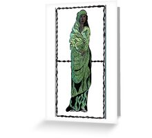 33 - WOMAN IN GREEN - DAVE EDWARDS - INK & COLOURED PENCILS - 1978 Greeting Card