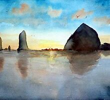 Cannon Beach Oregon Haystack Rock Sunset Watercolor by Pagani