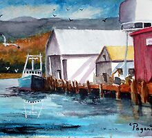 Garibaldi Oregon Harbor Boats Watercolor by Pagani