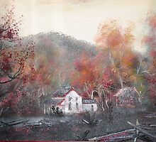 """Cable Mill House""  of Cades Cove (Painting) by JeffeeArt4u"