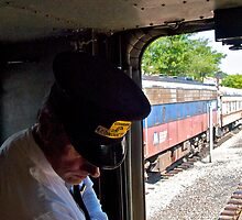 """""""Train Conductor Oversees Switching"""" - Naugatuck Railroad - © 2009 by Jack McCabe"""