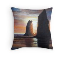 The Needles, Cannon Beach Oregon Pastel Throw Pillow