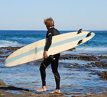 SURFER - NEWCASTLE BEACH NSW AUSTRALIA by Bev Woodman