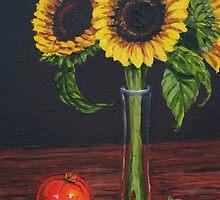 """Sunflowers and the tomato"" by fieldsendart"