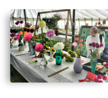 Admiring the prize winning flowers and vegetables at the Hawkesbury Upton Horticultural Show. Metal Print