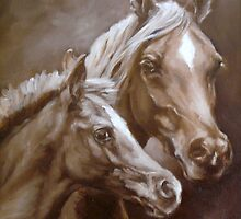 Arab Mare and Foal. by Margaret Stockdale