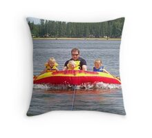 Riding The Towable With Uncle Cam Throw Pillow