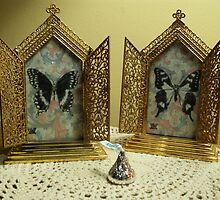 Small Brass Butterfly Shrines - Daily Drawings  by Alice McMahon