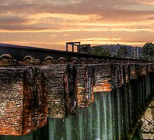 Train Bridge at Dusk by Lindsay Woolnough (Oram)