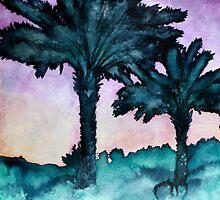 modern art landscape watercolour painting by derekmccrea