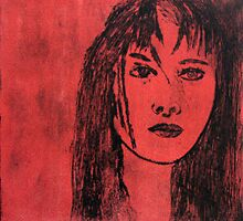 Girl on red by Faye Doherty