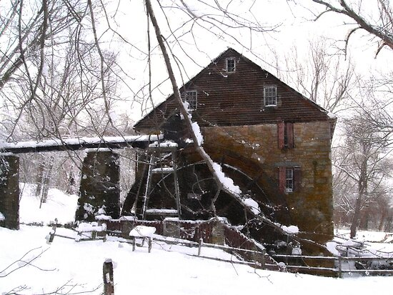 Rock Run Mill in the Snow by Hope Ledebur