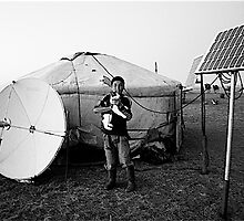 Mongolia   , Satellite  dish  and  Solar  paners by yoshiaki nagashima