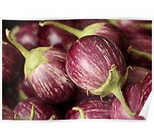 Striated Eggplants Poster