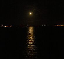 Moon over River Foyle Redcastle Donegal Ireland  by mikequigley