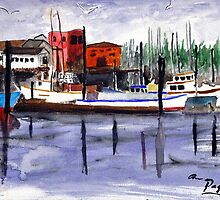 Garibaldi Boats and Harbor Watercolor by Pagani