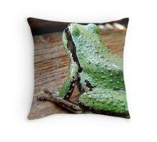 frog contemplating Throw Pillow