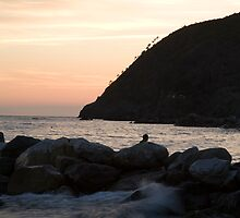 levanto beach at sunset, italy by Ian Middleton