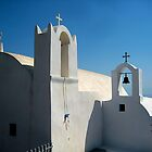 White Church Under a Blue Santorini Sky by Keith Richardson