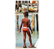 Boy on Dock Poster