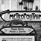 Paris Metro Sign in Black and White by randyharris