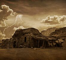 Southwest Desert Rock house and Lightning Strike. by Bo Insogna