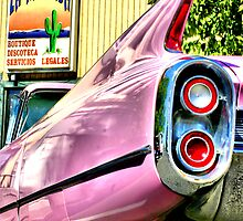 pink caddy stops for legal advice by Marda Bebb