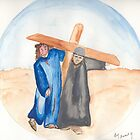 Jesus & Simon of Cyrene by Anne Gitto