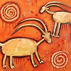 Two Mountain Goats -- Modern Cave Painting by carolsuzanne