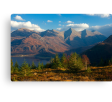 The Five Sisters of Kintail from Mam Ratagan,North West Scotland. Canvas Print