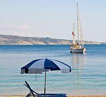 Sailing off Kerasia Beach, Corfu by Sheila Laurens