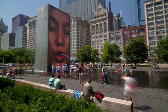 Summer fun in Crown Fountain, Chicago by Sven Brogren