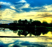 Sunset Reflections - Wonga Wetlands - The HDR Experience by Philip Johnson