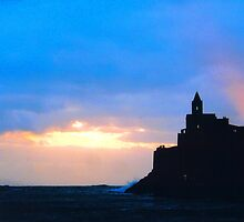 Portovenere, Liguria, Italy - St. Peter's church at Sunset by Igor Pozdnyakov