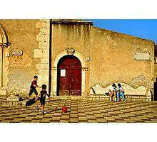 Playing in Taormina Photographic Print