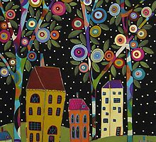 Trees Houses Abstract Painting by karlagerard