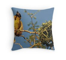 Southern Masked Weaver, Tanzania, Africa Throw Pillow