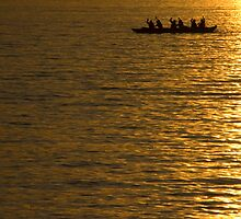 Long Boat Paddlers at sunset, Vancouver, BC by David Galson
