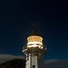 Cape Reinga lighthouse at night 5 by Paul Mercer