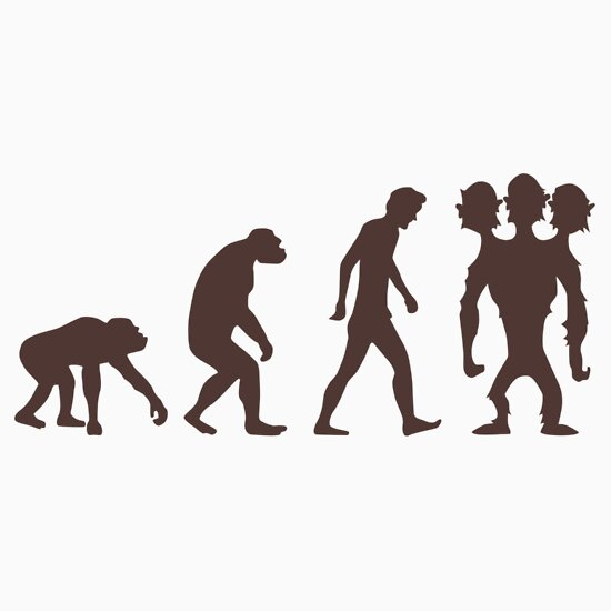 Evolution three headed monkey quot stickers by duub qnnp redbubble