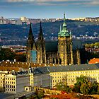 Prague Castle from Petrin Tower by Karel Kuran