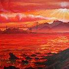 Oil Painting - Golden Gate Bridge and Alcatraz Island from Emeryville, 2009 by Igor Pozdnyakov