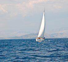 Sailing between Corfu and Albania by Sheila Laurens