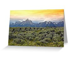 Grand Tetons and a Fence Greeting Card