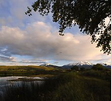 Spanish Peaks from La Veta Town Lake, September by Fletcher Hill